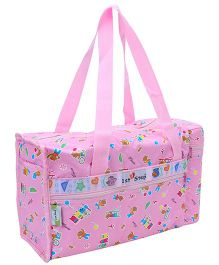 1st Step Pink Diaper Bag With Bottle Warmer - Bear And Train Print