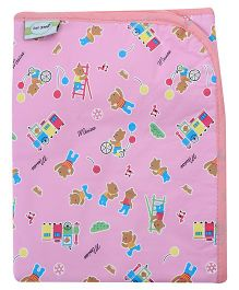 1st Step Baby Mat Teddy Bear And Train Print - Light Pink