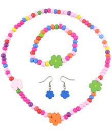 Angel Glitter Multicolor Flowers of Every Colour Wooden Jewellery Set - Set Of 4