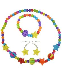 Angel Glitter Multicolor Football And Stars Wooden Jewellery Set