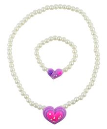 Angel glitter Purple Pearly Heart 2 Piece Necklace and Bracelet Jewellery Set