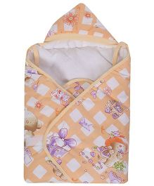 Tiny Care Printed Hooded Wrapper - Peach