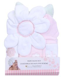 Piccolo Bambino Playful Cuddle Hooded Towel Bath Set - Flower