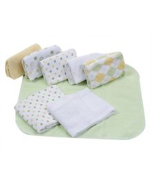 Piccolo Bambino Washcloth in Mesh Bag Pack of 8 Green