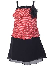 Softouch Singlet Party Dress With Multi Layers - Red And Black