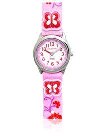 Jacques Farel Kids Butterfly 3D Strap Wristwatch Pink