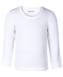 Kanvin White Full Sleeves Self Stripe Design Thermal Vest