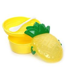 Fab N Funky Lunch Box With Spoon - Pineapple Pattern