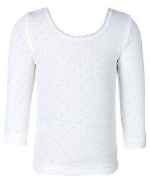 Kanvin Full Sleeves Pointelle Design Thermal Vest - Off White