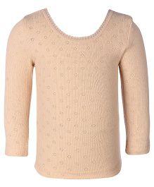Kanvin Peach Full Sleeves Pointelle Design Thermal Vest