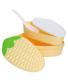 Fab N Funky Lunch Box With Spoon - Maize Pattern