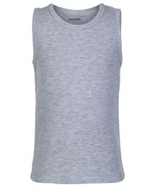 Kanvin Grey Sleeveless Self Stripe Design Thermal Vest