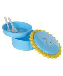 Fab N Funky Lunch Box With Spoon Sunflower Pattern