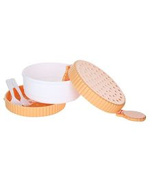 Fab N Funky Orange Lunch Box With Spoon And Fork - Circle Shape