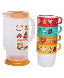 Fab N Funky Jug With Cups - Set Of Five