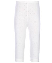 Kanvin White Full Length Thermal Legging - Pointelle Design