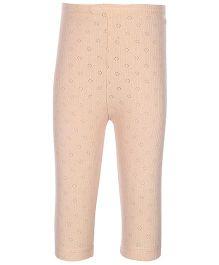 Kanvin Peach Full Length Thermal Legging - Pointelle Design
