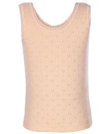 Kanvin Peach Sleeveless Pointelle Design Thermal Vest