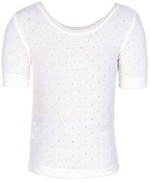 Kanvin White Half Sleeves Pointelle Design Thermal Vest