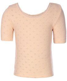 Kanvin Peach Half Sleeves Pointelle Design Thermal Vest