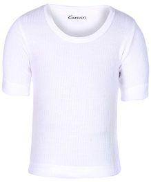 Kanvin White Half Sleeves Thermal Vest - Self Stripe Design