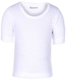 Kanvin White Half Sleeves Thermal Vest - Self Stripe Design