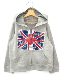 Beebay Full Sleeves Hooded Sweat Shirt Flag Print