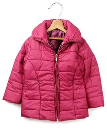Beebay Pink Full Sleeves Quilted Jacket - Attached Hood