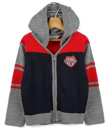 Beebay Grey And Navy Blue Full Sleeves Hooded Sweater