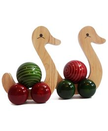 Aatike Spinning Wooden Swan - Green Red