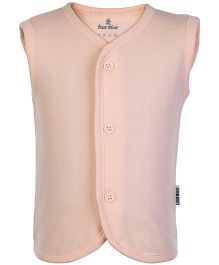 Child World Peach Sleeveless Plain Vest