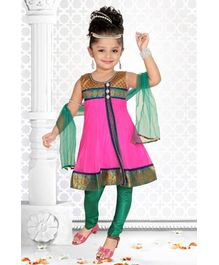 Babyhug Sleeveless Double Layer Kurta Chudidaar And Dupatta Set - Green