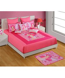 Swayam Princess Print Red Double Bed Sheet And 2 Pillow Covers - Digital Print