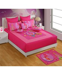 Swayam Pink Princess Print Double Bed Sheet And 2 Pillow Cover - Digital Print