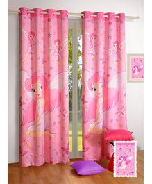 Swayam Digital Fairy Print Kids Window Curtain With Eyelit - 48 x 60 Inches