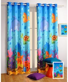Swayam Window Curtain With Eyelit Digital Print - Blue
