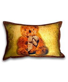 Swayam Teddy Bear Digital Print Golden Pillow Cover - 45 x 70 cm