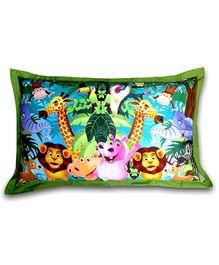 Swayam Animal Digital Print Green Pillow Cover - 46 X 71 cm