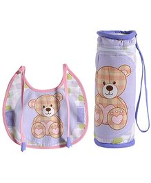 Swayam Digitally Printed Bib And Bottle Cover Set - Teddy Bear Print