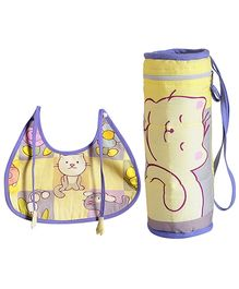 Swayam Digitally Printed Bib And Bottle Cover Set - Cat Print