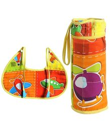 Swayam Digitally Printed Bib And Bottle Cover Set - Aeroplane Print