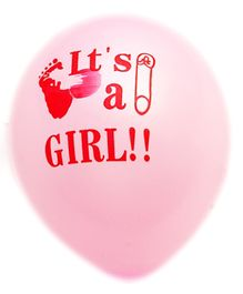 Party Anthem Pink It Is A Girl Print Latex Balloons - Pack Of 25