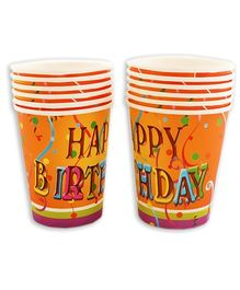 Party Anthem Multi Coloured Happy Birthday Print Paper Cups - 266 ml