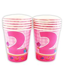Party Anthem Pink Second Birthday Theme Paper Cups - 266 ml