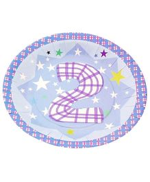 Party Anthem Second Birthday Blue Paper Plate - Pack Of 12
