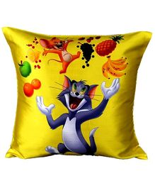 Tom And Jerry With Fruits Yellow Digital Print Cushion Cover - 41 X 41 cm