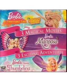 Reliance Big Home Videos Barbie 3 Magical Movies Fashion Fairytale Mermaid Tale Three Musketeers VCD