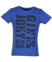 Gini & Jony Half Sleeves Printed T Shirt - Blue