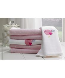 Lollipop Lane Pink Bird Muslin Squares - Set of 6