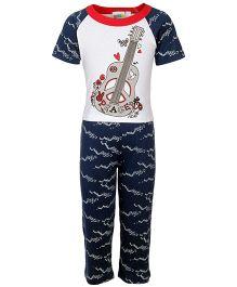 SAPS Short Sleeves White Blue Night Wear - Guitar Print